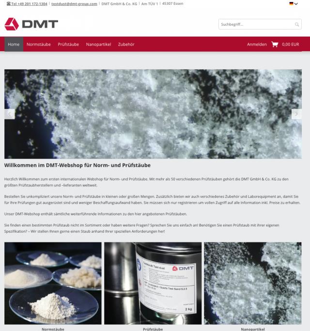 Realisierung des weltweit ersten Shopsystems für Prüf- und Normstäube im Auftrag der DMT Group (ein Unternehmen der TÜV NORD GROUP)